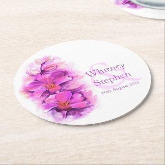 Van de de orchideewaterverf van het huwelijk roze ronde onderzetter