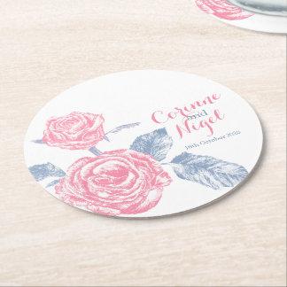Van de de rozeninkt van het huwelijk roze de ronde onderzetter