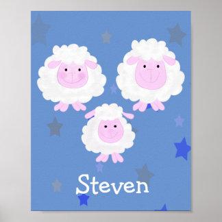 Van de de schapenfamilie van de cartoon het baby poster
