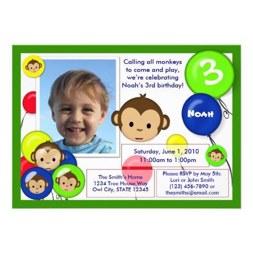 Van de de verjaardagsuitnodiging van de aap blauwe uitnodiging