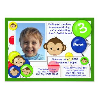 Van de de verjaardagsuitnodiging van de aap blauwe 12,7x17,8 uitnodiging kaart