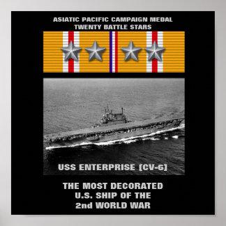 VAN DE USS ENTERPRISE (CV-6) HET POSTER