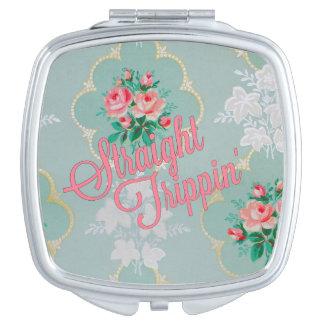 Van de vintage nam het compacte roze het makeup spiegeltjes