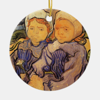 Van Gogh, deux enfants, art vintage Ornement Rond En Céramique