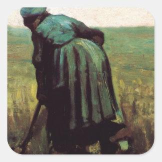 Van Gogh, femme rurale creusant, agriculteur Sticker Carré