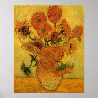Van Gogh Flowers Kunst, Vaas met 15 Zonnebloemen Poster