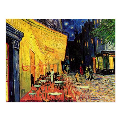 Van Gogh; Het Terras van de koffie bij Nacht, Vint Wenskaart