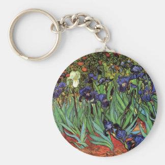 Van Gogh Irises, het Fijne Art. van de Vintage Basic Ronde Button Sleutelhanger