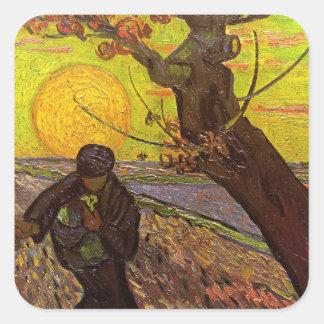Van Gogh ; Le semeur, ferme vintage Sticker Carré