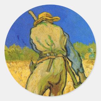 Van Gogh ; Reaper, agriculteur vintage Sticker Rond