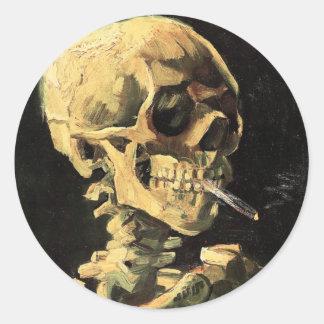 Van Gogh Skull met het Branden van de Magneet van Ronde Sticker