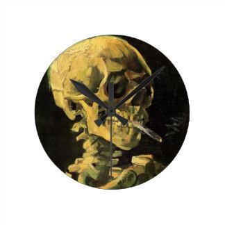 Van Gogh Skull met het Branden van Sigaret, Ronde Klok