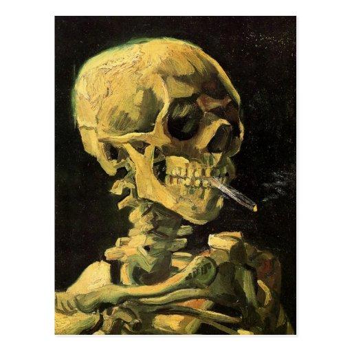 Van Gogh Skull met het Branden van Sigaret, Vintag Wenskaart