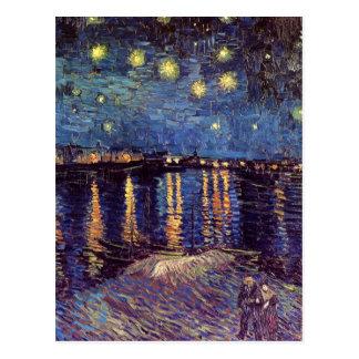 Van Gogh Starry Nacht over de Rhône, Vintage Art. Briefkaart