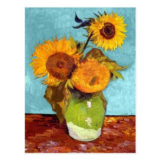 Van Gogh - trois tournesols dans un vase - Carte Postale