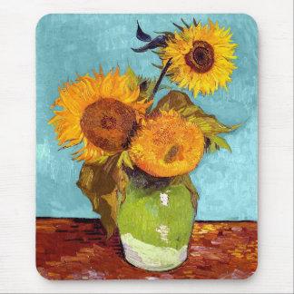 Van Gogh - trois tournesols dans un vase - Tapis De Souris