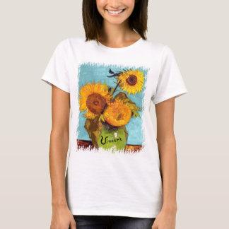 Van Gogh - trois tournesols en beaux-arts de vase T-shirt