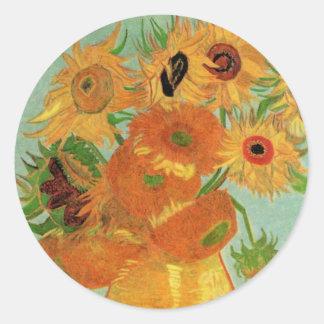 Van Gogh Vase met 12 Zonnebloemen, het Fijne Art. Ronde Sticker