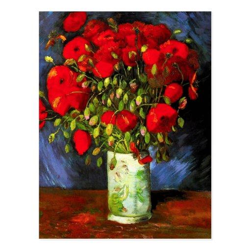 Van Gogh Vase met het Rode Briefkaart van Papavers Wenskaart