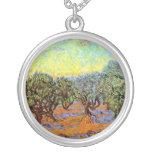 Van Gogh - verger olive avec le ciel orange Collier
