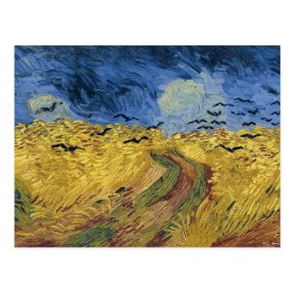 Van Gogh Wheatfield het Fijne Art. met van Kraaien Wens Kaart