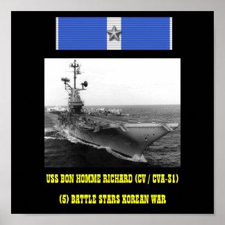 VAN USS BON (CV/CVA-31) HET POSTER HOMME RICHARD