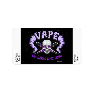 Vape | e-Sap DIY Paarse Schedel van het Etiket Addressticker