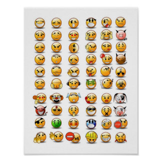 Variaties van een Gezicht Smiley emoticon Poster