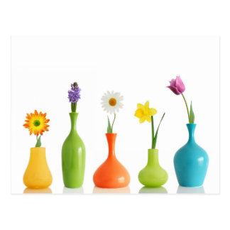 Vases à fleur colorés carte postale