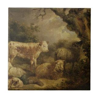 Veau et moutons par George Morland Carreau