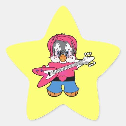 Vedette du rock de pingouin de penny autocollant en étoile