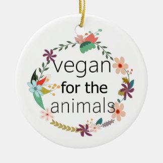 Végétalien pour la conception florale d'animaux ornement rond en céramique