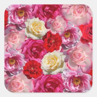 vele rozenstickers vierkante sticker