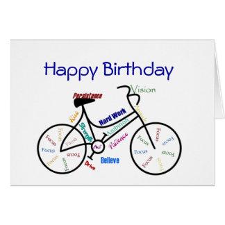 Vélo drôle d'anniversaire d'âge, faisant un cycle, carte de vœux