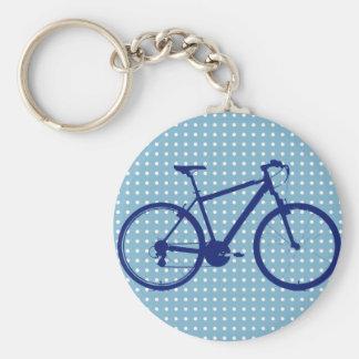 vélo et pois bleus porte-clé rond
