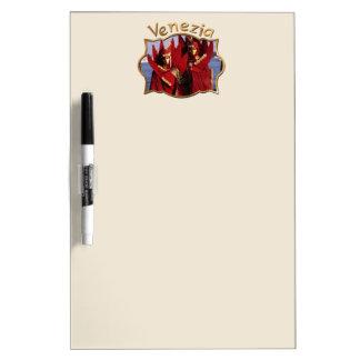 Venetiaans Paar in de Rode Kostuums van Carnaval Whiteboard
