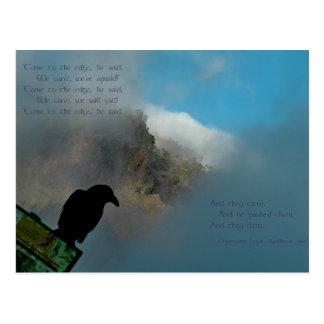 Venez à la carte postale de poème de bord