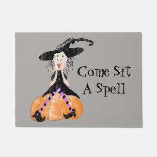 Venez reposez un tapis de porte de Halloween de