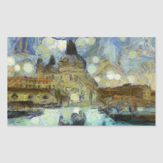 Venise-canal de Van Gogh Sticker Rectangulaire