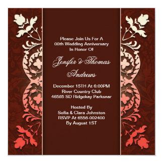 verfijnde elegante huwelijksverjaardag 13,3x13,3 vierkante uitnodiging kaart