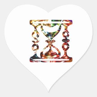 Verre décoratif d'heure - conception rouge de sticker cœur