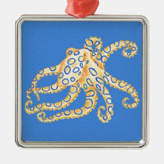 Verre souillé de poulpe bleu ornement carré argenté
