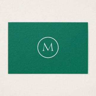 Vert de bouteille élégant décoré d'un monogramme cartes de visite
