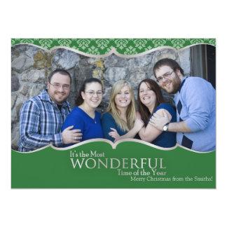 Vert de carte de Noël de photo et classique Carton D'invitation 13,97 Cm X 19,05 Cm