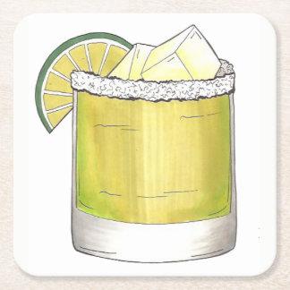 Vert de chaux de cocktail de cocktail d'été de dessous-de-verre carré en papier