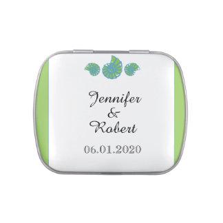 Vert de chaux et mariage de coquillage de boite de bonbons jelly belly