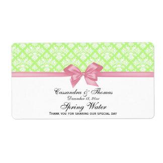 Vert de pistache, arc blanc de rose d'étiquette de étiquette d'expédition