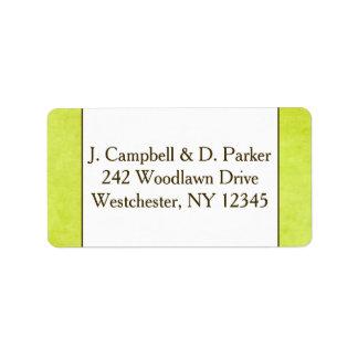 Vert de retour et Brown de poire de l'étiquette de Étiquette D'adresse