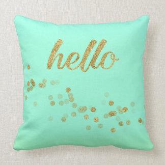 Vert de scintillement de confettis d'or bonjour oreillers