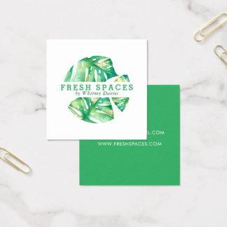 Vert élégant de santé de MONSTERA de LOGO MODERNE Carte De Visite Carré